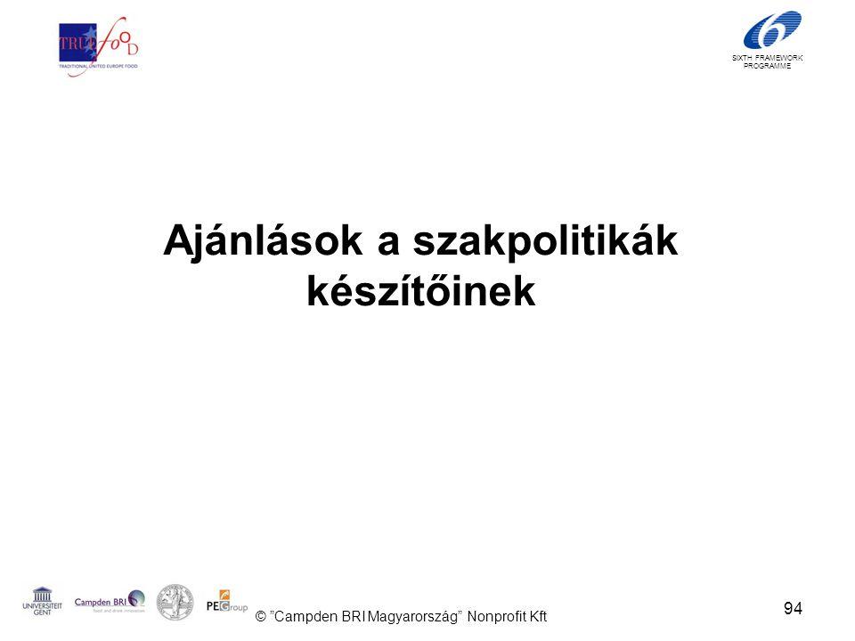 SIXTH FRAMEWORK PROGRAMME Ajánlások a szakpolitikák készítőinek 94 © Campden BRI Magyarország Nonprofit Kft