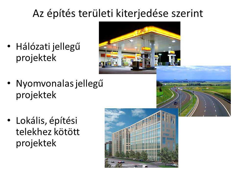 Az építés területi kiterjedése szerint • Hálózati jellegű projektek • Nyomvonalas jellegű projektek • Lokális, építési telekhez kötött projektek