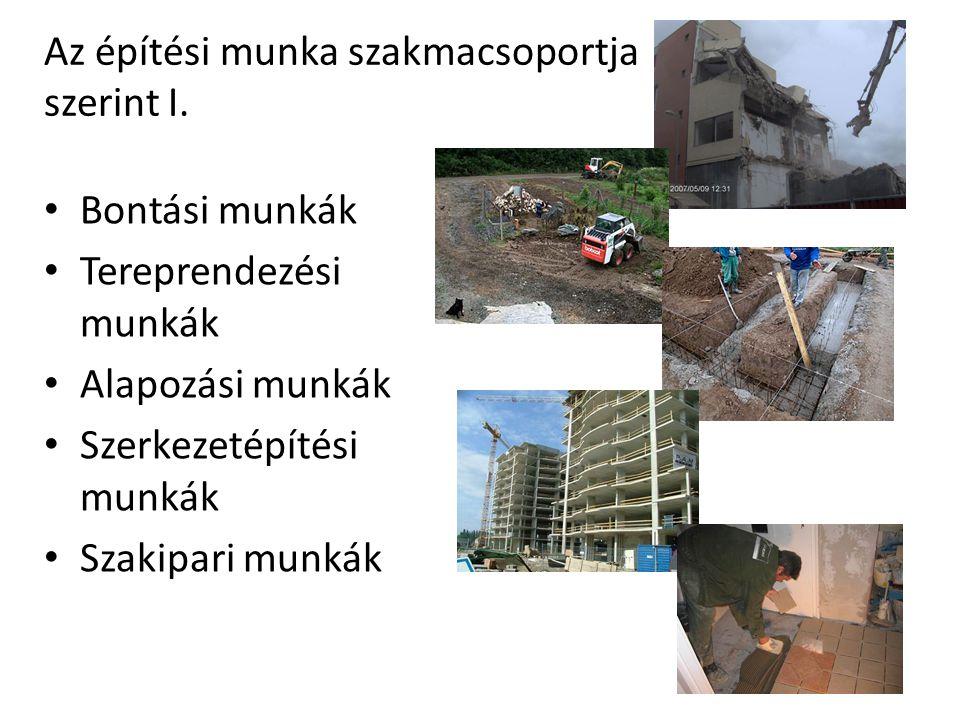 Az építési munka szakmacsoportja szerint I.
