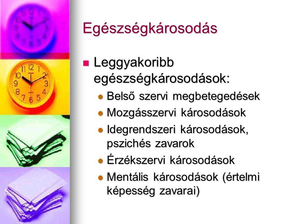 Egészségkárosodás  Leggyakoribb egészségkárosodások:  Belső szervi megbetegedések  Mozgásszervi károsodások  Idegrendszeri károsodások, pszichés zavarok  Érzékszervi károsodások  Mentális károsodások (értelmi képesség zavarai)