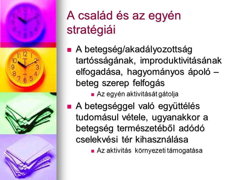 A család és az egyén stratégiái  A betegség/akadályozottság tartósságának, improduktivitásának elfogadása, hagyományos ápoló – beteg szerep felfogás