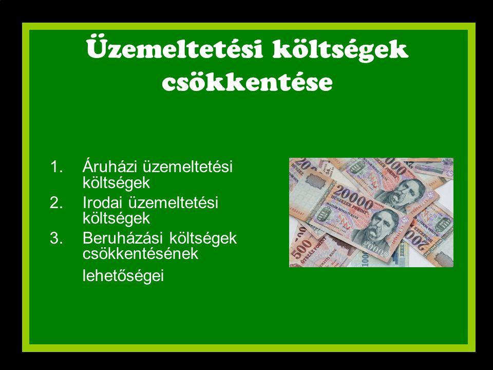 Üzemeltetési költségek csökkentése 1.Áruházi üzemeltetési költségek 2.Irodai üzemeltetési költségek 3.Beruházási költségek csökkentésének lehetőségei