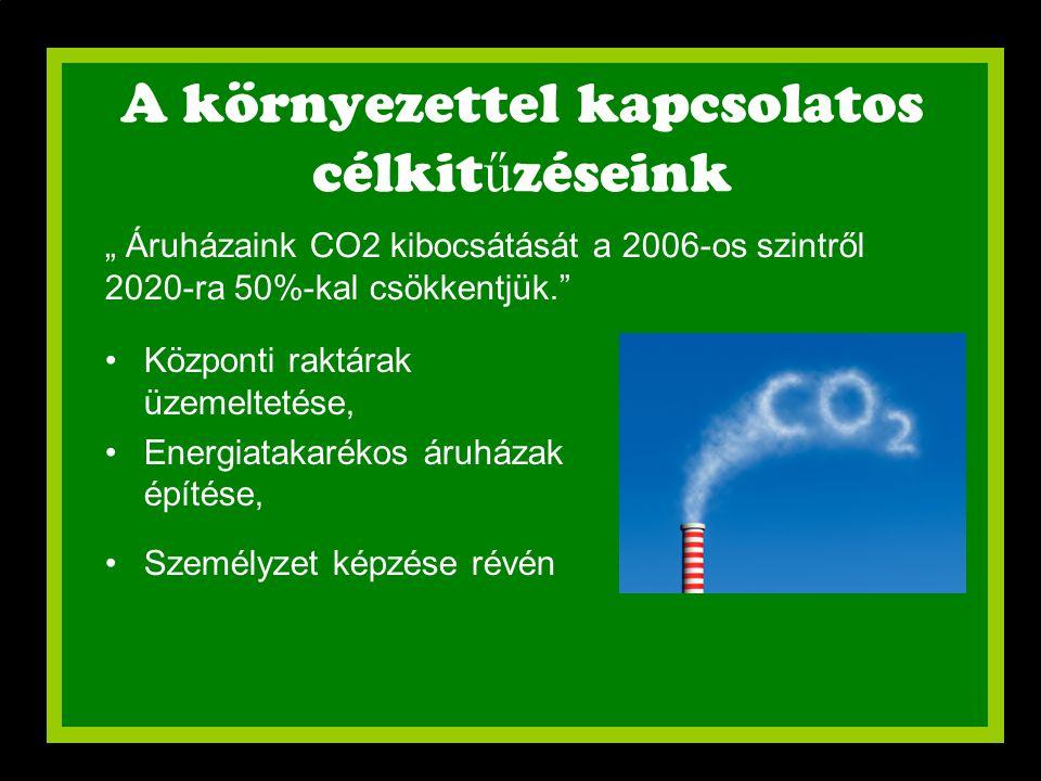 """A környezettel kapcsolatos célkit ű zéseink •Központi raktárak üzemeltetése, •Energiatakarékos áruházak építése, •Személyzet képzése révén """" Áruházain"""