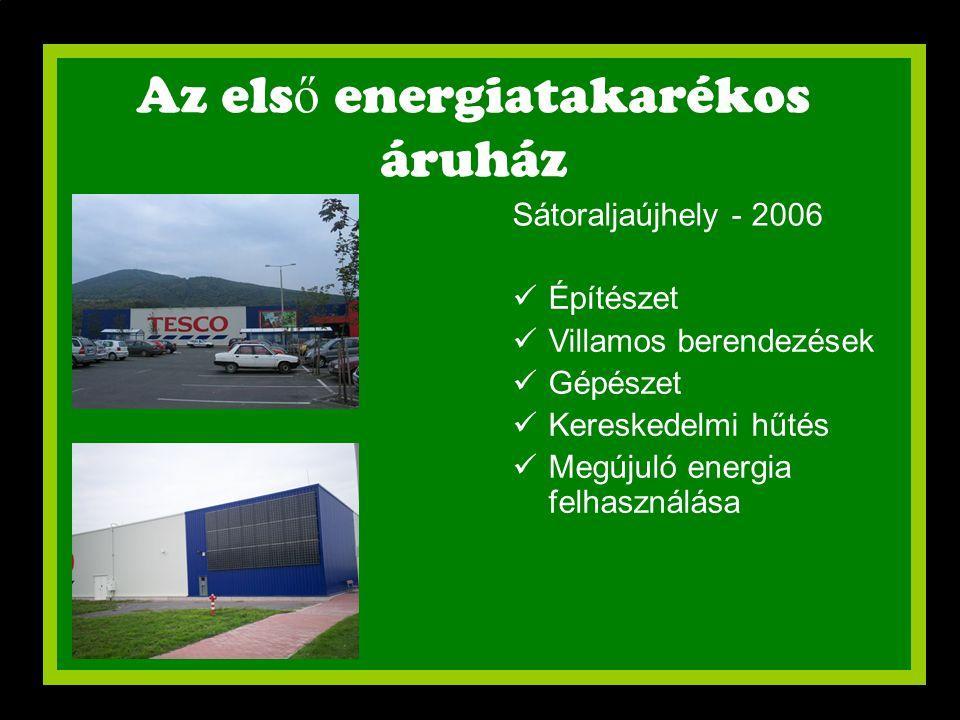 Az els ő energiatakarékos áruház Sátoraljaújhely - 2006  Építészet  Villamos berendezések  Gépészet  Kereskedelmi hűtés  Megújuló energia felhasz