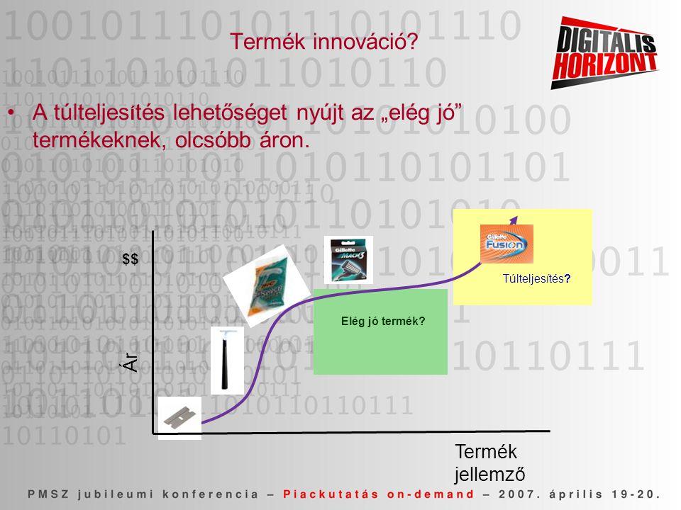 """Termék innováció? •A túlteljes í tés lehetőséget nyújt az """"elég jó"""" termékeknek, olcsóbb áron. Termék jellemző Ár Elég jó termék? $$ Túlteljesítés?"""