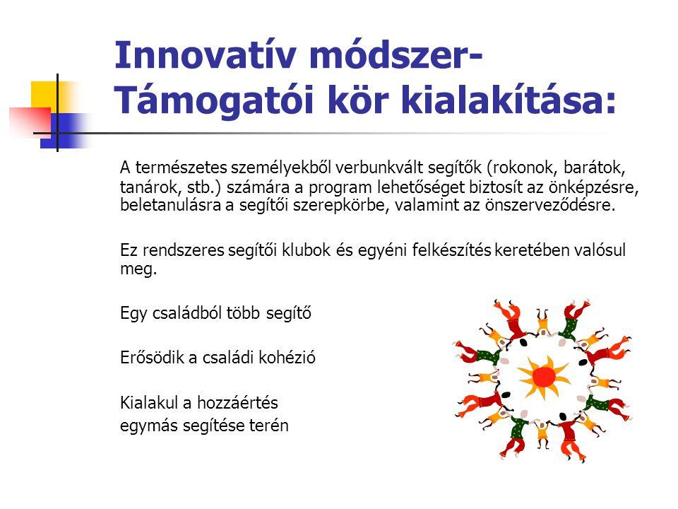 Újabb innováció: Aktív Műhely Modellfejlesztés Partnerségben 6 szervezet:  Kézenfogva Alapítvány- Budapest  Esőemberekért Egyesület- Tata  Szimbiózis Alapítvány- Miskolc  Bárka Alapítvány- Dunaharaszti  Mécses Egyesület- Mezőberény  Fogda Kezem Alapítvány- Pécs … az EQUAL E11 (2005-2007-2008) projekt folytatásaként… …folyamatosan fejleszti az értelmi sérült és autista emberek komplex, teljes körű és differenciált foglalkoztatásának modellprogramját, és dolgozza ki annak telepíthetőségét újonnan bekapcsolódó szervezetekhez … ennek keretében 2009-2010-ben 12 szervezetet diagnosztizál és fejleszt