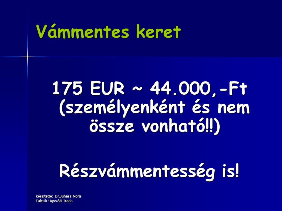 készítette: Dr.Juhász Nóra Falcsik Ügyvédi Iroda Vámmentes keret 175 EUR ~ 44.000,-Ft (személyenként és nem össze vonható!!) Részvámmentesség is!