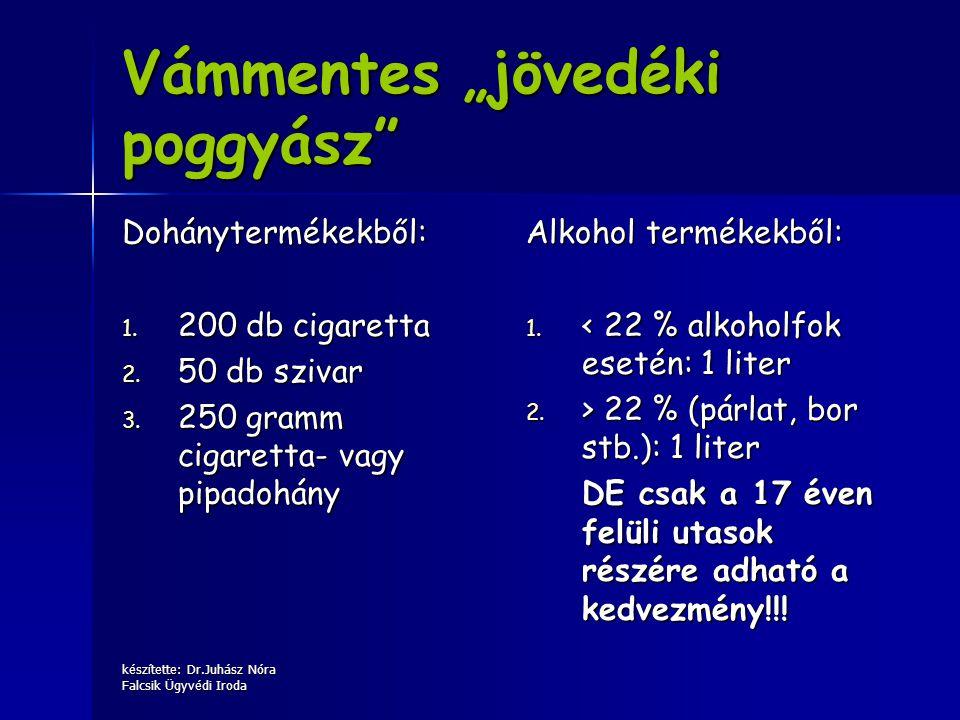 """készítette: Dr.Juhász Nóra Falcsik Ügyvédi Iroda Vámmentes """"jövedéki poggyász"""" Dohánytermékekből: 1. 200 db cigaretta 2. 50 db szivar 3. 250 gramm cig"""