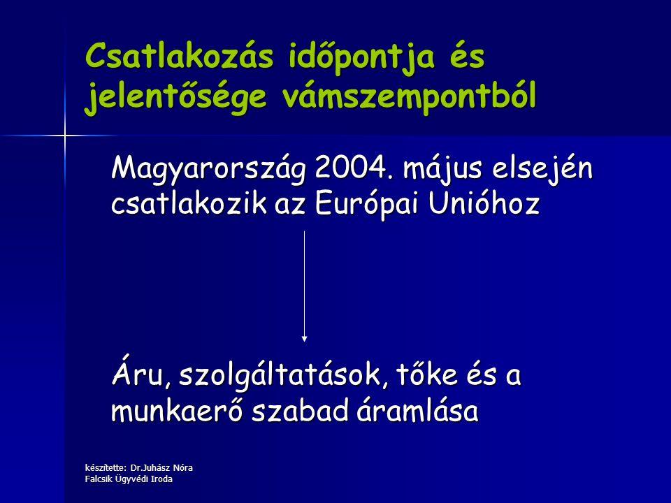 készítette: Dr.Juhász Nóra Falcsik Ügyvédi Iroda Csatlakozás időpontja és jelentősége vámszempontból Magyarország 2004. május elsején csatlakozik az E
