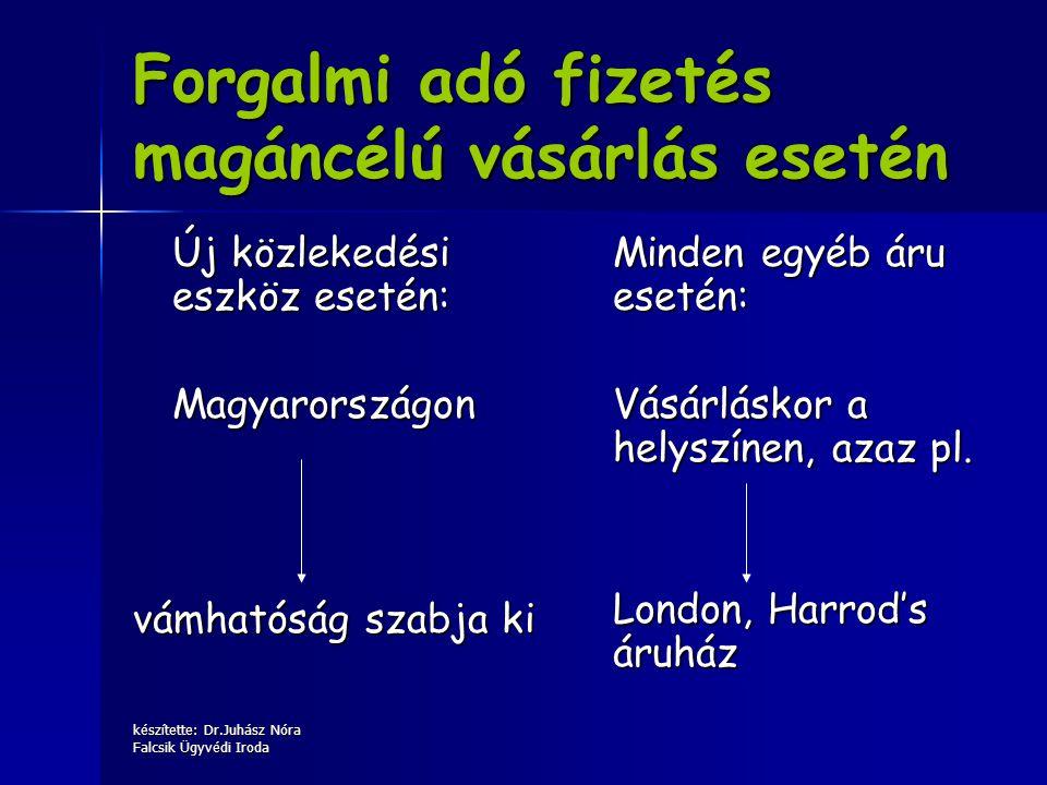 készítette: Dr.Juhász Nóra Falcsik Ügyvédi Iroda Forgalmi adó fizetés magáncélú vásárlás esetén Új közlekedési eszköz esetén: Magyarországon vámhatósá