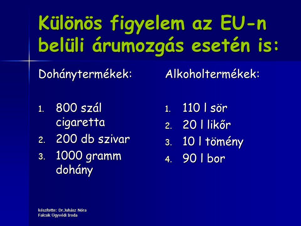 készítette: Dr.Juhász Nóra Falcsik Ügyvédi Iroda Különös figyelem az EU-n belüli árumozgás esetén is: Dohánytermékek: 1. 800 szál cigaretta 2. 200 db