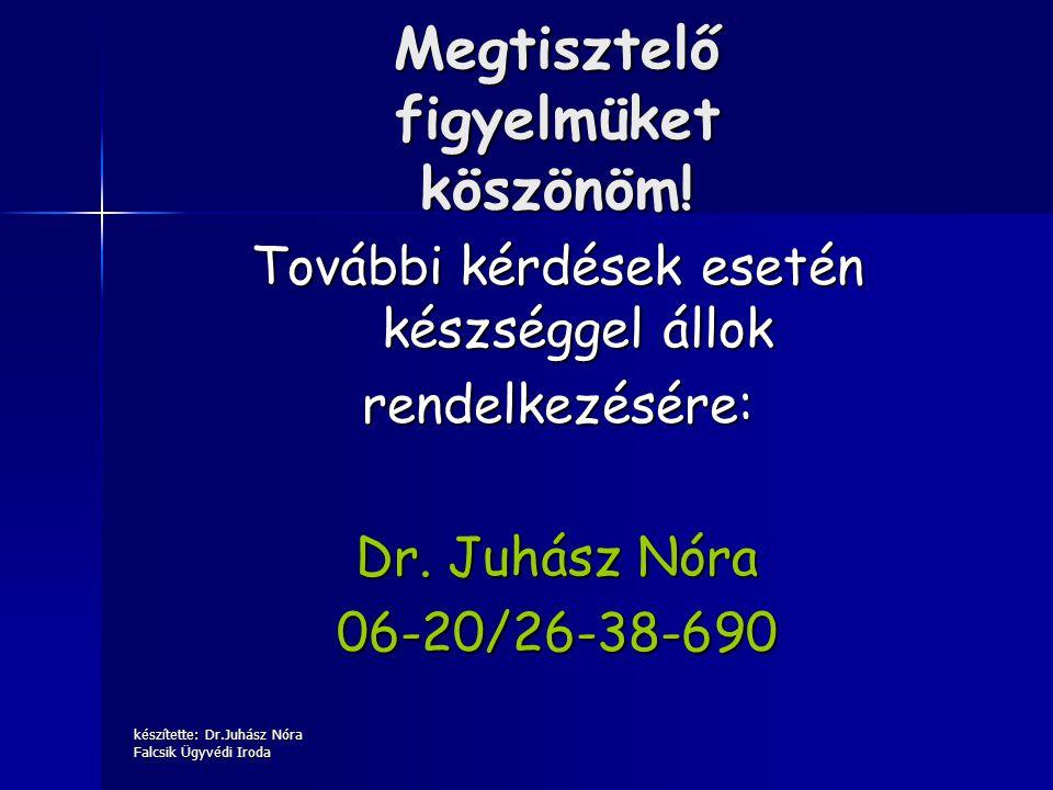 készítette: Dr.Juhász Nóra Falcsik Ügyvédi Iroda Megtisztelő figyelmüket köszönöm! További kérdések esetén készséggel állok rendelkezésére: Dr. Juhász