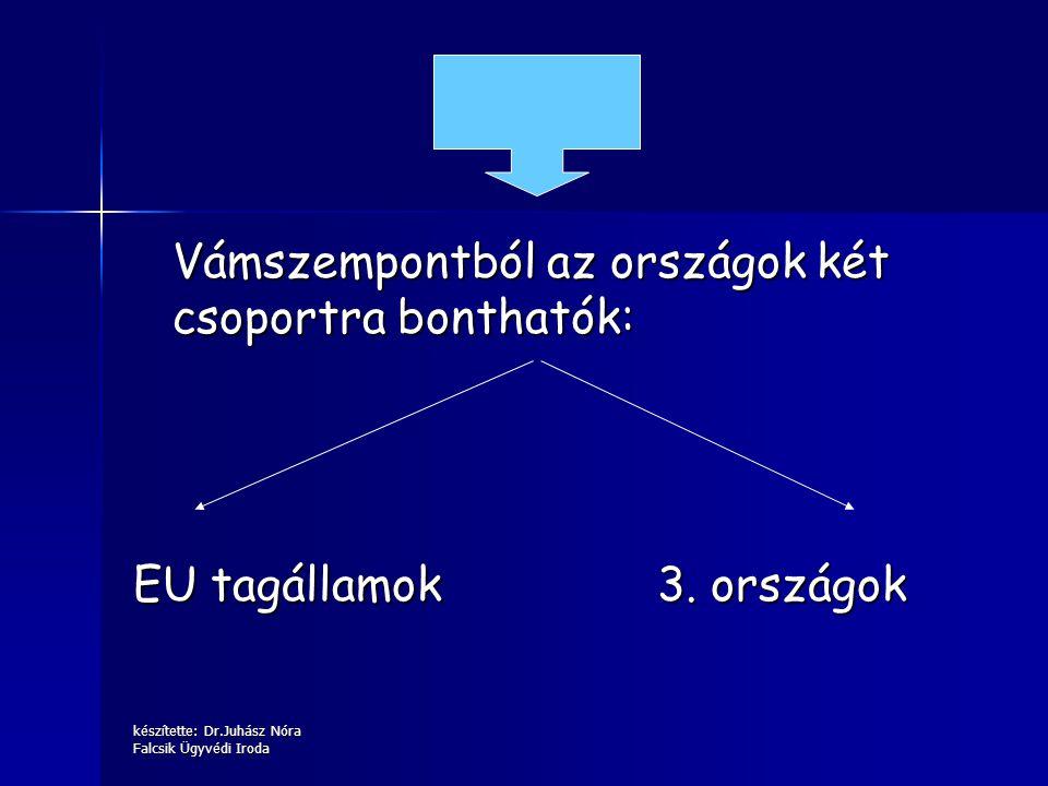 készítette: Dr.Juhász Nóra Falcsik Ügyvédi Iroda Vámszempontból az országok két csoportra bonthatók: EU tagállamok3. országok