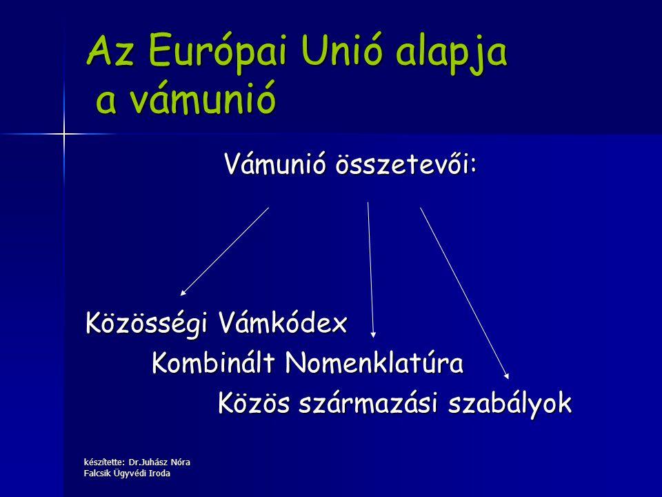 készítette: Dr.Juhász Nóra Falcsik Ügyvédi Iroda Az Európai Unió alapja a vámunió Vámunió összetevői: Közösségi Vámkódex Kombinált Nomenklatúra Közös
