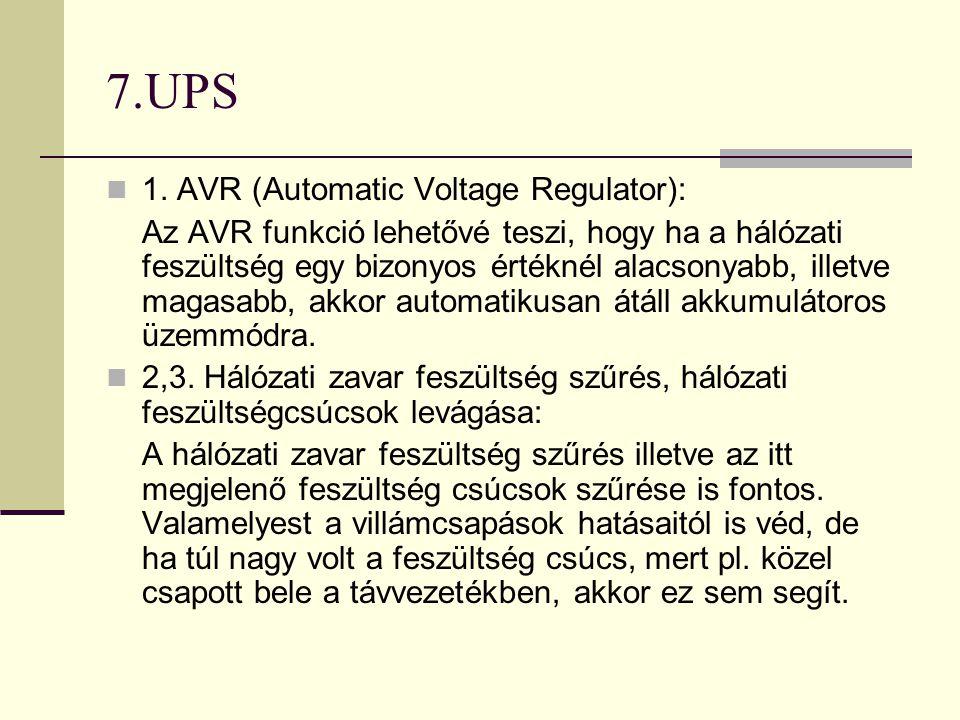7.UPS  1. AVR (Automatic Voltage Regulator): Az AVR funkció lehetővé teszi, hogy ha a hálózati feszültség egy bizonyos értéknél alacsonyabb, illetve