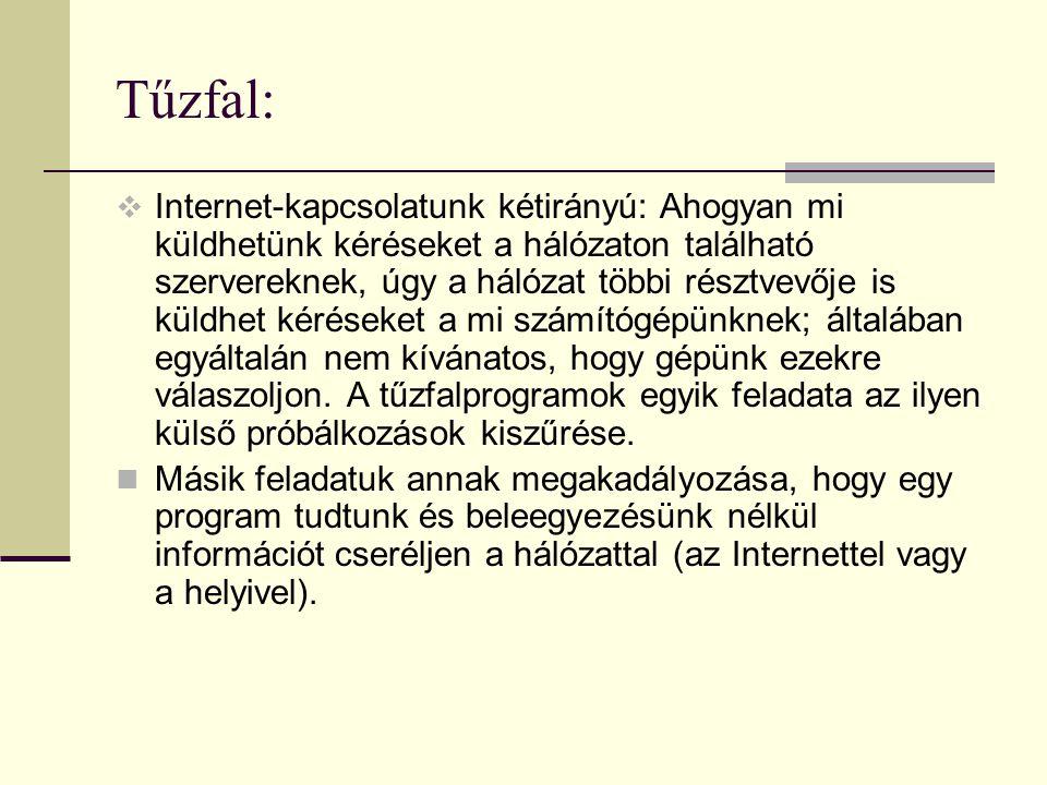 Tűzfal:  Internet-kapcsolatunk kétirányú: Ahogyan mi küldhetünk kéréseket a hálózaton található szervereknek, úgy a hálózat többi résztvevője is küld
