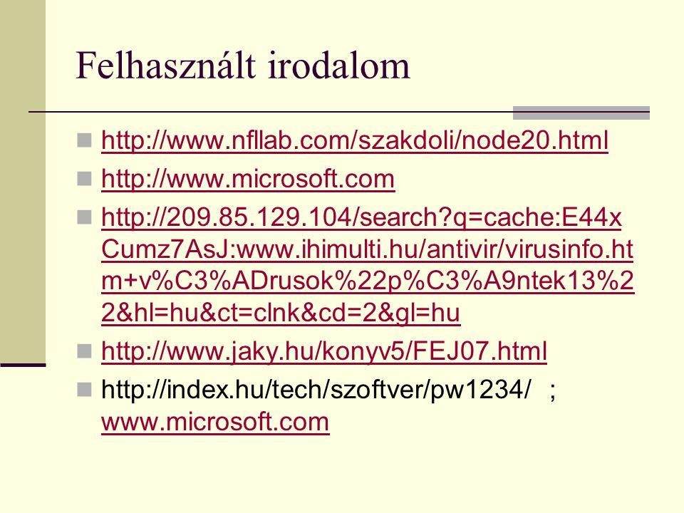 Felhasznált irodalom  http://www.nfllab.com/szakdoli/node20.html http://www.nfllab.com/szakdoli/node20.html  http://www.microsoft.com http://www.mic