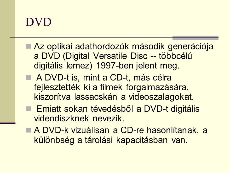 DVD  Az optikai adathordozók második generációja a DVD (Digital Versatile Disc -- többcélú digitális lemez) 1997-ben jelent meg.  A DVD-t is, mint a