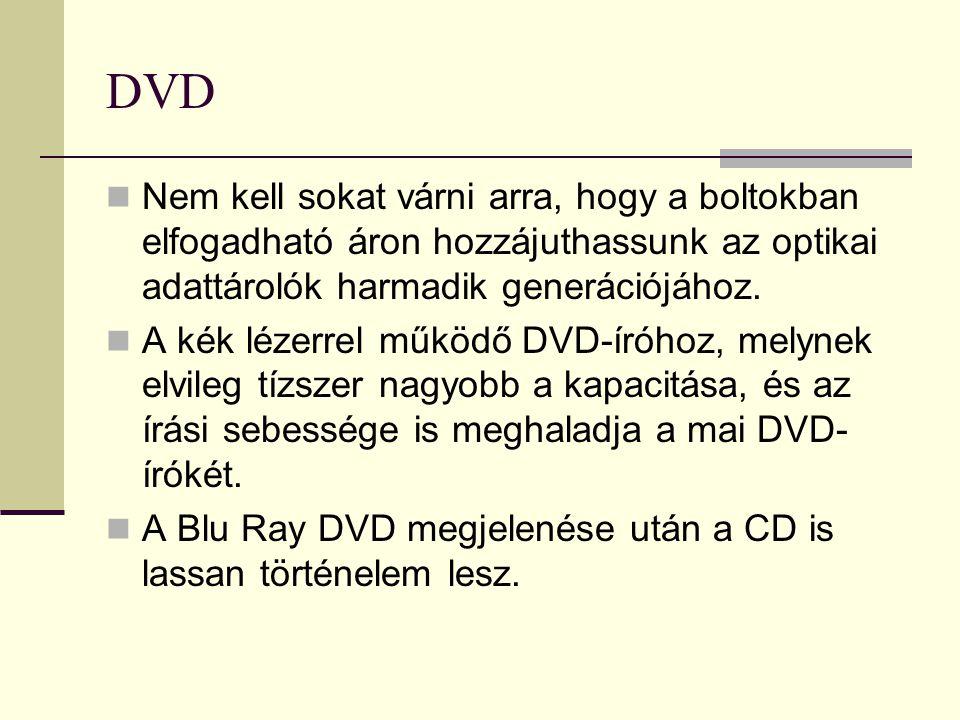 DVD  Nem kell sokat várni arra, hogy a boltokban elfogadható áron hozzájuthassunk az optikai adattárolók harmadik generációjához.  A kék lézerrel mű