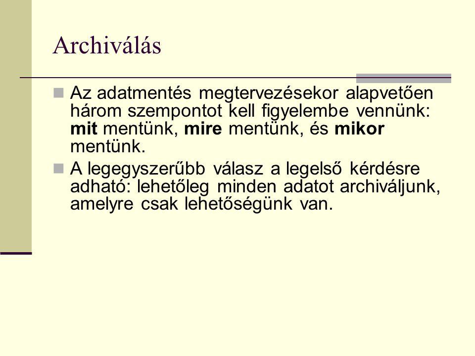 Archiválás  Nézzük, mit is kell visszamentenünk: - alaprendszert - konfigurációs állományokat - felhasználói adatokat
