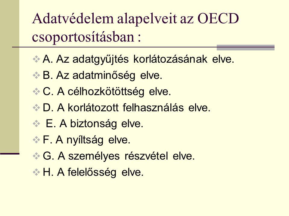 Adatvédelem alapelveit az OECD csoportosításban :  A. Az adatgyűjtés korlátozásának elve.  B. Az adatminőség elve.  C. A célhozkötöttség elve.  D.