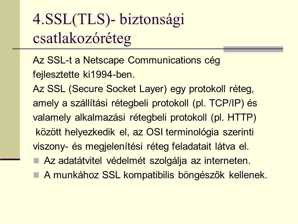 4.SSL  Alkalmazása: elektronikus kereskedelmi weboldal, webáruház  Jellemzői:  Tipikusan a transport rétegben helyezkedik.