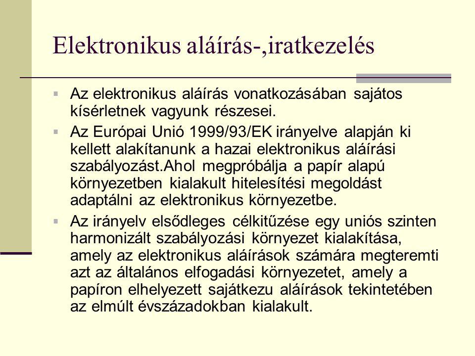 Elektronikus aláírás-,iratkezelés  Az elektronikus aláírás vonatkozásában sajátos kísérletnek vagyunk részesei.  Az Európai Unió 1999/93/EK irányelv