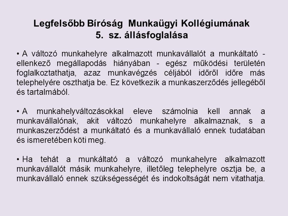 Legfelsőbb Bíróság Munkaügyi Kollégiumának 5. sz.