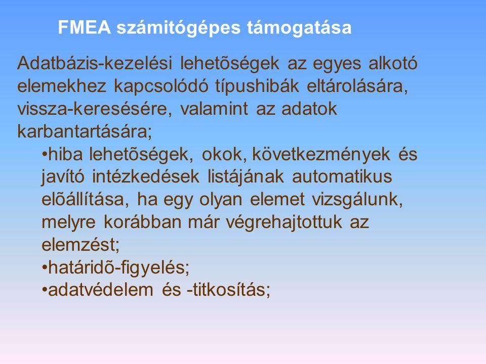 FMEA •Konstrukciós FMEA. Célja a konstrukciós megoldásokból és a tervezõ által készített elõírásokból eredõ hibák feltárása és kiküszöbölése. •Folyama