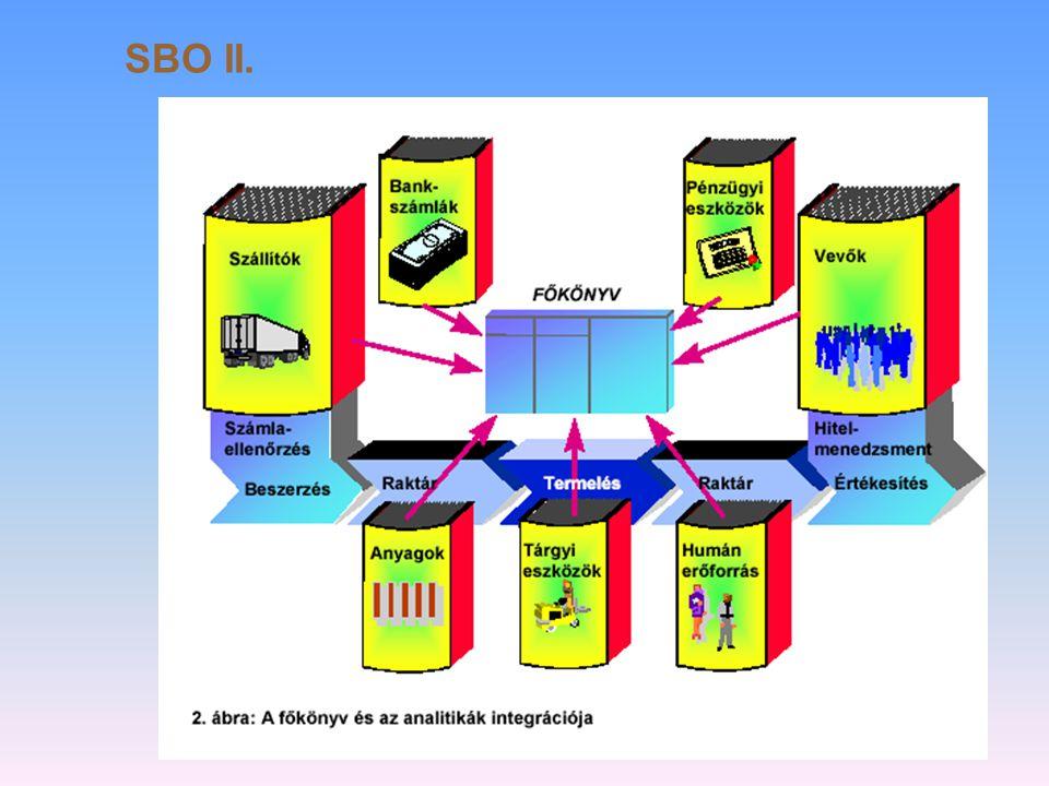 Egy adott számítógépes vállalat irányítási megoldás ( SBO) SAP Business One  ERP = Integrált vállalati erőforrás tervező szoftver  Pénzügy-számvitel  Értékesítés  Kontrolling  Raktározás  Költséggazdálkodás  Project gazdálkodás  Anyaggazdálkodás  Szerviz menedzsment  Készletgazdálkodás  Ügyfélkapcsolatok  Beszerzés  Emberi erőforrás menedzsment  Termelés  Elektronikus áruház
