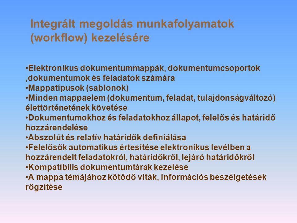 Integrált megoldás munkafolyamatok (workflow) kezelésére •Elektronikus dokumentummappák, dokumentumcsoportok,dokumentumok és feladatok számára •Mappatípusok (sablonok) •Minden mappaelem (dokumentum, feladat, tulajdonságváltozó) élettörténetének követése •Dokumentumokhoz és feladatokhoz állapot, felelős és határidő hozzárendelése •Abszolút és relatív határidők definiálása •Felelősök automatikus értesítése elektronikus levélben a hozzárendelt feladatokról, határidőkről, lejáró határidőkről •Kompatíbilis dokumentumtárak kezelése •A mappa témájához kötődő viták, információs beszélgetések rögzítése