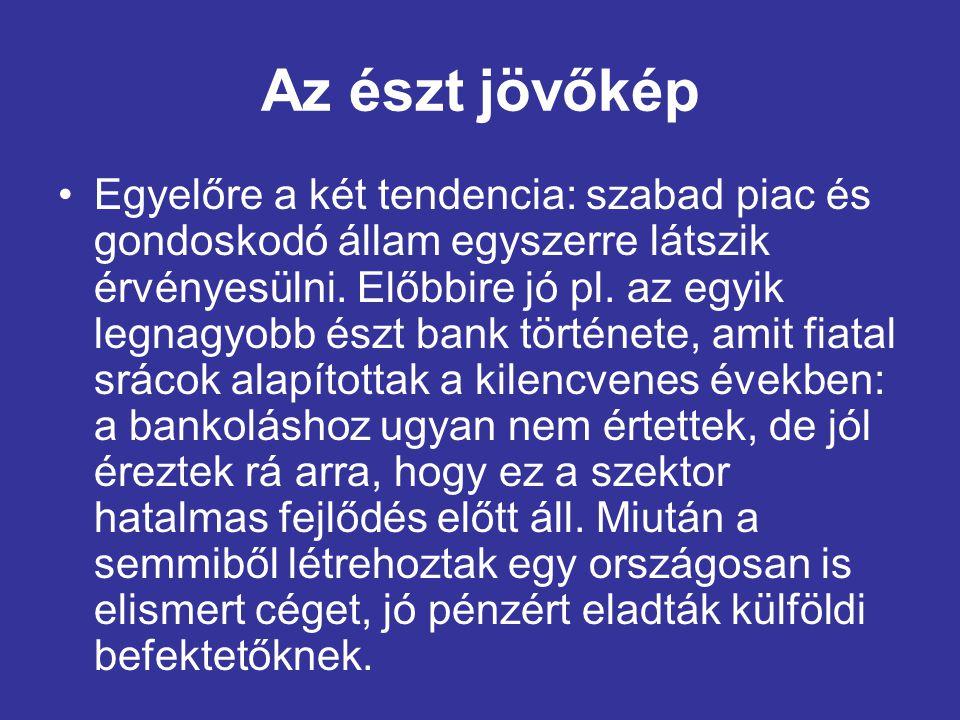 Az észt jövőkép •Egyelőre a két tendencia: szabad piac és gondoskodó állam egyszerre látszik érvényesülni.