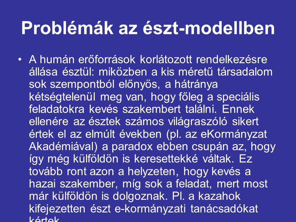 Problémák az észt-modellben •A humán erőforrások korlátozott rendelkezésre állása észtül: miközben a kis méretű társadalom sok szempontból előnyös, a hátránya kétségtelenül meg van, hogy főleg a speciális feladatokra kevés szakembert találni.