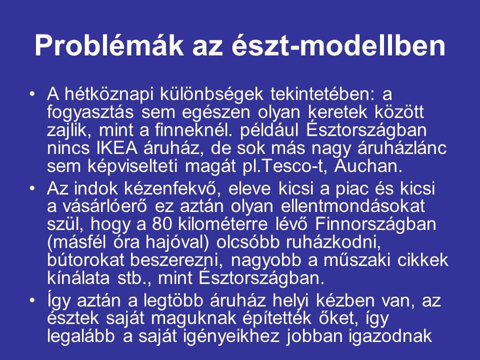 Problémák az észt-modellben •A hétköznapi különbségek tekintetében: a fogyasztás sem egészen olyan keretek között zajlik, mint a finneknél.