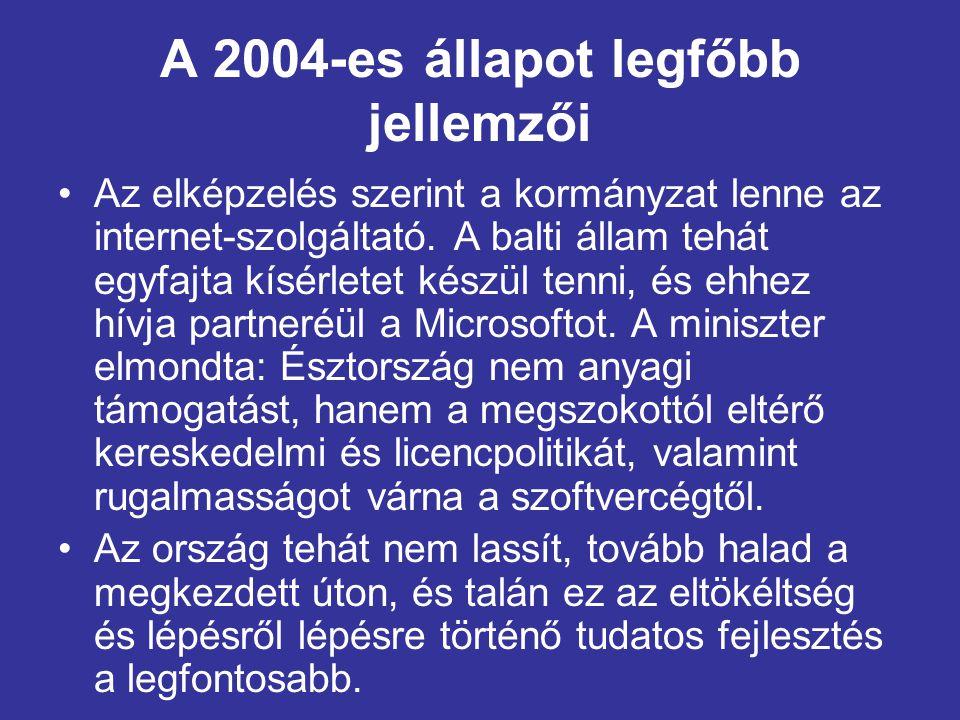 A 2004-es állapot legfőbb jellemzői •Az elképzelés szerint a kormányzat lenne az internet-szolgáltató.