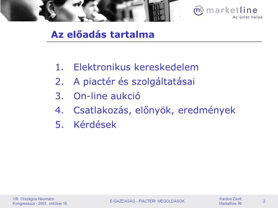 Kardos Zsolt Marketline Rt TARTALOM: eKereskedelem Piactér és szolgáltatásai On-line Aukció Csatlakozás, előnyök, eredmények Kérdések VIII. Országos N