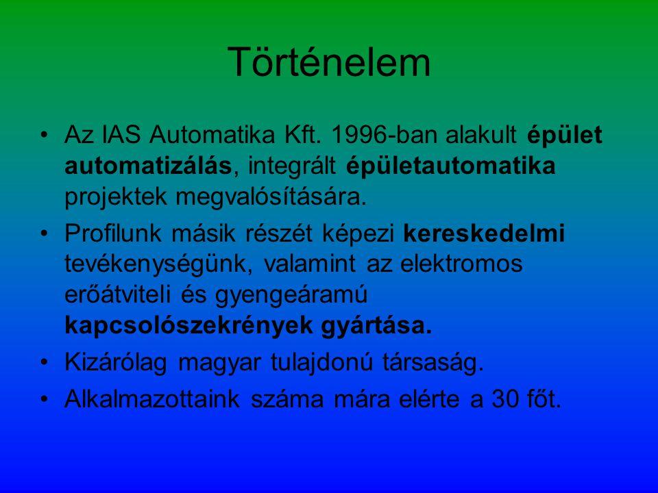 Történelem •Az IAS Automatika Kft. 1996-ban alakult épület automatizálás, integrált épületautomatika projektek megvalósítására. •Profilunk másik részé