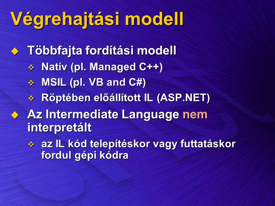 Végrehajtási modell  Többfajta fordítási modell  Natív (pl. Managed C++)  MSIL (pl. VB and C#)  Röptében előállított IL (ASP.NET)  Az Intermediat