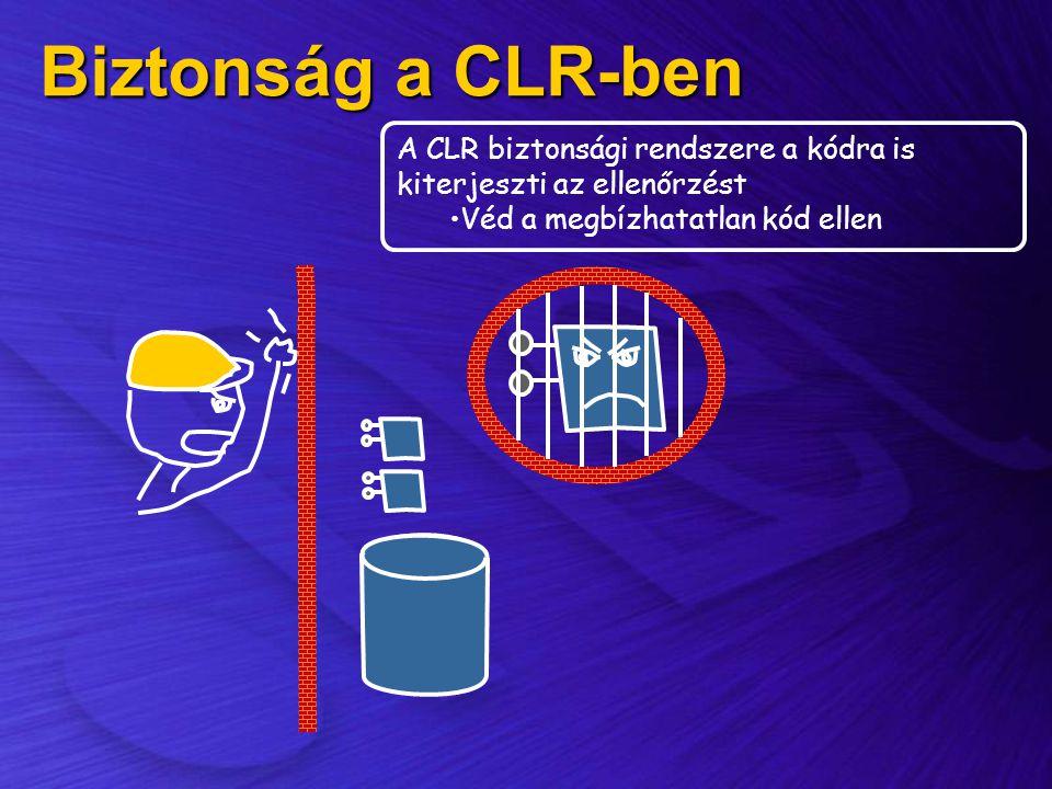 Biztonság a CLR-ben A CLR biztonsági rendszere a kódra is kiterjeszti az ellenőrzést •Véd a megbízhatatlan kód ellen