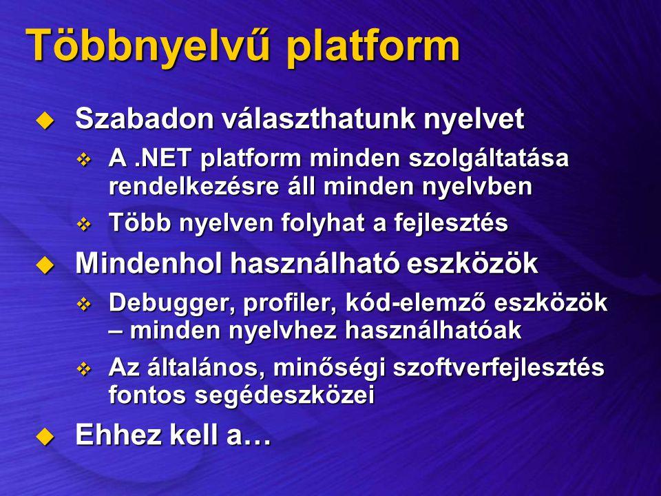 Többnyelvű platform  Szabadon választhatunk nyelvet  A.NET platform minden szolgáltatása rendelkezésre áll minden nyelvben  Több nyelven folyhat a