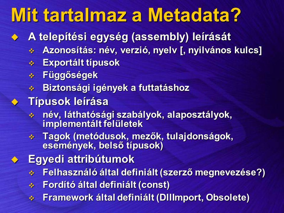 Mit tartalmaz a Metadata?  A telepítési egység (assembly) leírását  Azonosítás: név, verzió, nyelv [, nyilvános kulcs]  Exportált típusok  Függősé