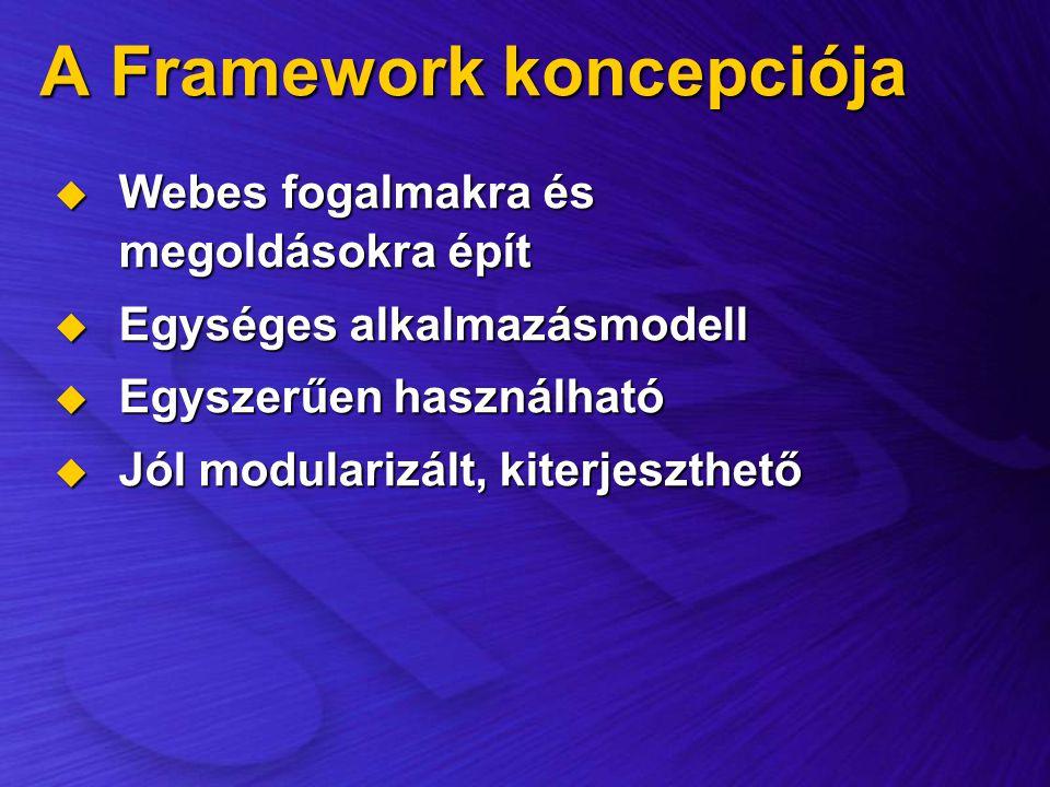 A Framework koncepciója  Webes fogalmakra és megoldásokra épít  Egységes alkalmazásmodell  Egyszerűen használható  Jól modularizált, kiterjeszthet