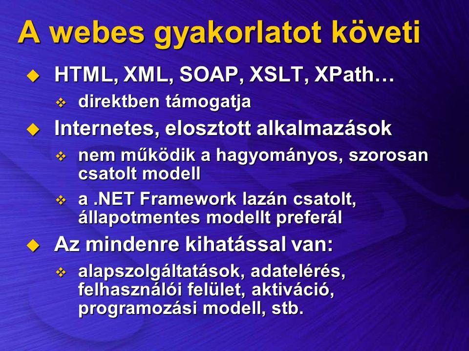 A webes gyakorlatot követi  HTML, XML, SOAP, XSLT, XPath…  direktben támogatja  Internetes, elosztott alkalmazások  nem működik a hagyományos, szo