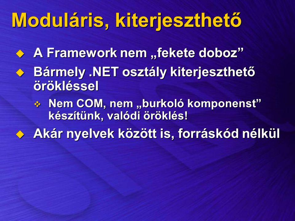 """Moduláris, kiterjeszthető  A Framework nem """"fekete doboz""""  Bármely.NET osztály kiterjeszthető örökléssel  Nem COM, nem """"burkoló komponenst"""" készítü"""