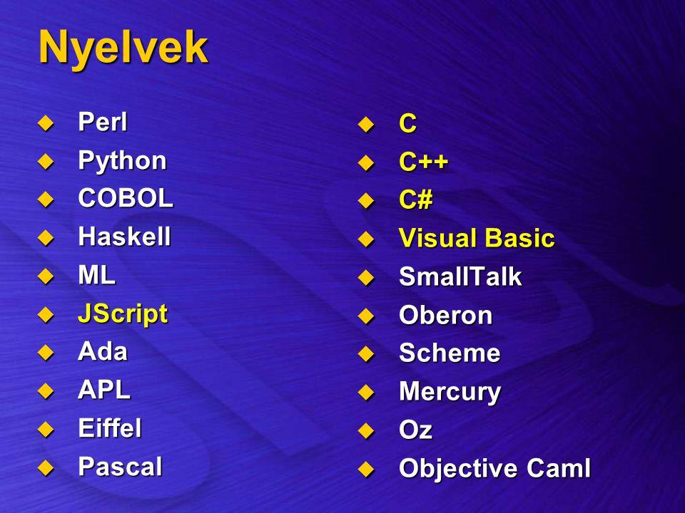Nyelvek  Perl  Python  COBOL  Haskell  ML  JScript  Ada  APL  Eiffel  Pascal  C  C++  C#  Visual Basic  SmallTalk  Oberon  Scheme  M