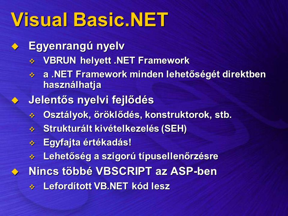 Visual Basic.NET  Egyenrangú nyelv  VBRUN helyett.NET Framework  a.NET Framework minden lehetőségét direktben használhatja  Jelentős nyelvi fejlőd