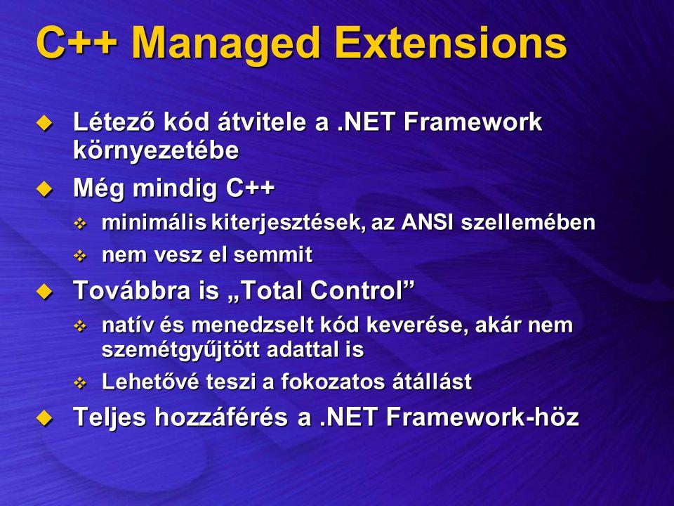 C++ Managed Extensions  Létező kód átvitele a.NET Framework környezetébe  Még mindig C++  minimális kiterjesztések, az ANSI szellemében  nem vesz