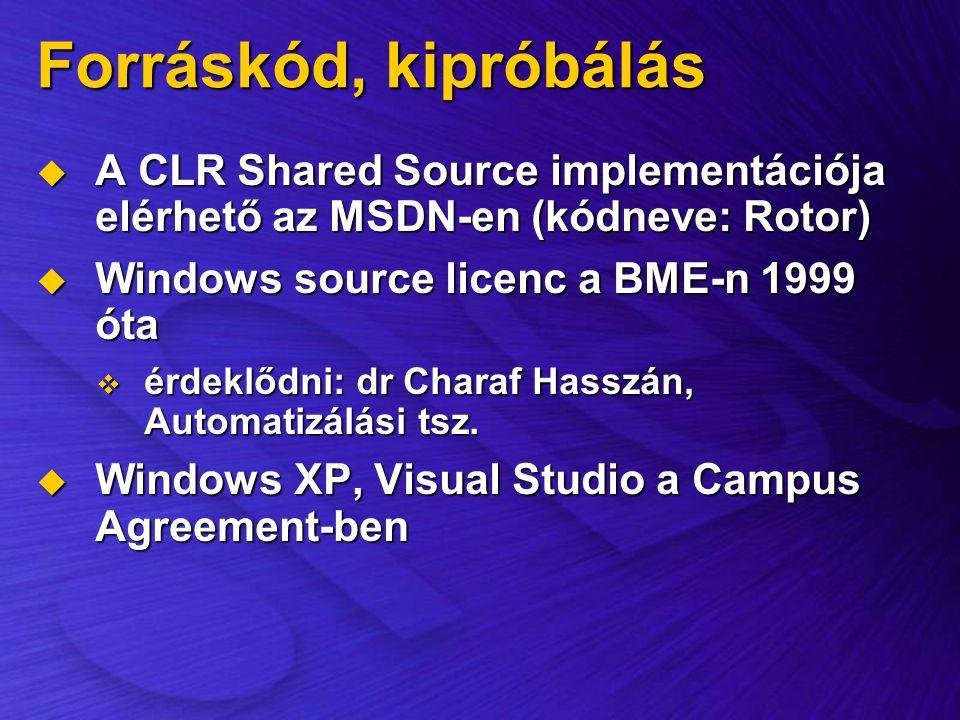 Forráskód, kipróbálás  A CLR Shared Source implementációja elérhető az MSDN-en (kódneve: Rotor)  Windows source licenc a BME-n 1999 óta  érdeklődni