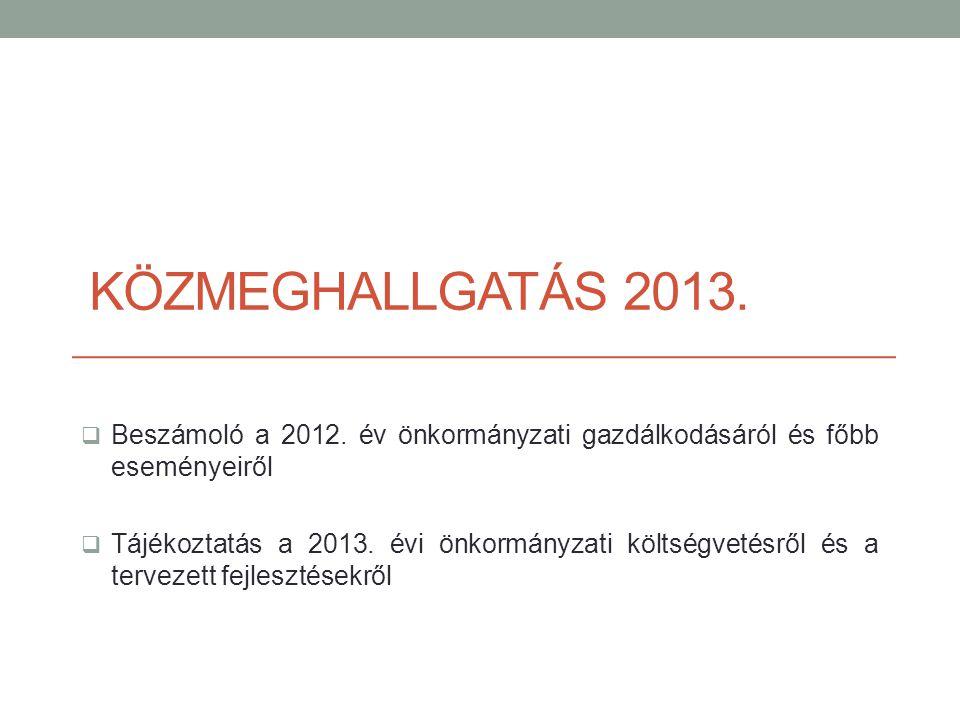 KÖZMEGHALLGATÁS 2013.  Beszámoló a 2012. év önkormányzati gazdálkodásáról és főbb eseményeiről  Tájékoztatás a 2013. évi önkormányzati költségvetésr
