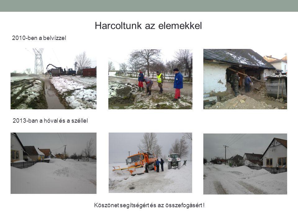 Harcoltunk az elemekkel 2010-ben a belvízzel 2013-ban a hóval és a széllel Köszönet segítségért és az összefogásért !